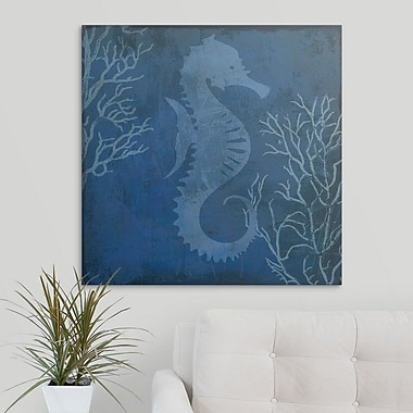 Highland Dunes 'Navy Sea Horse' Graphic Art Print on Canvas; 8'' H x 8'' W x 0.75'' D