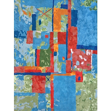 Latitude Run Susanna Hand-Tufted Blue/Green/Red Area Rug; 5' x 7'3''