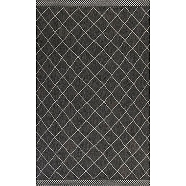 Gracie Oaks Paramus Rustico Charcoal Indoor/Outdoor Area Rug; 3'3'' x 4'11''