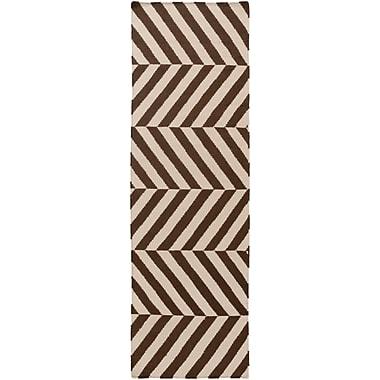 Ebern Designs Diego Ivory/Mocha Geometric Area Rug; 8' x 11'
