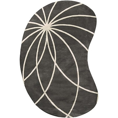 Ebern Designs Dewald Iron Ore/Antique White Area Rug; Novelty 8' x 10'