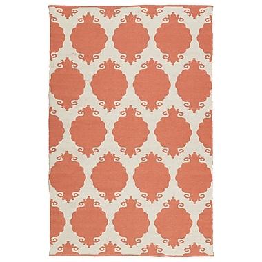 Ebern Designs Dominic Cream/Salmon Indoor/Outdoor Area Rug; 8' x 10'