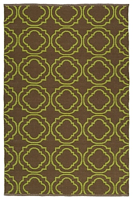 Ebern Designs Dominic Brown/Avocado Indoor/Outdoor Area Rug; 2' x 3'