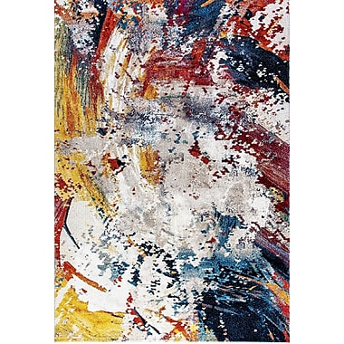 Ebern Designs Donnellson Yellow/Blue/Red Area Rug; 6'7'' x 9'6''