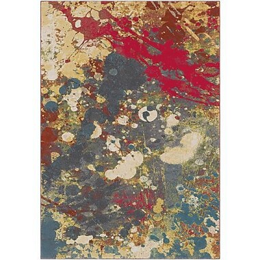 Ebern Designs Donvers Bright Red/Charcoal Area Rug; 5'3'' x 7'6''