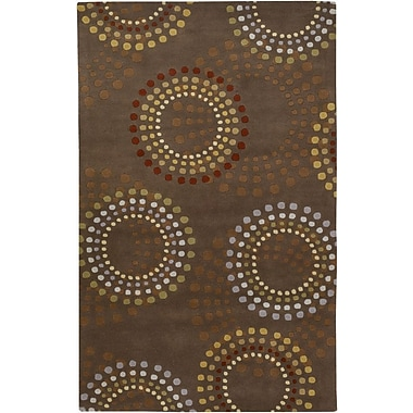 Ebern Designs Dewald Chocolate/Gold Area Rug; 5' x 8'