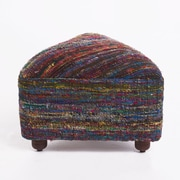 Ivy Bronx Lisse Ottoman w/ Wood Frame; Red/Yellow