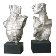 Orren Ellis Caresse 2 Piece Silver Metal Sculpture Set