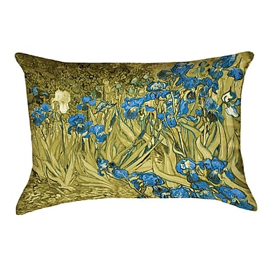 Red Barrel Studio Bristol Woods Irises Linen Pillow Cover; Yellow/Blue
