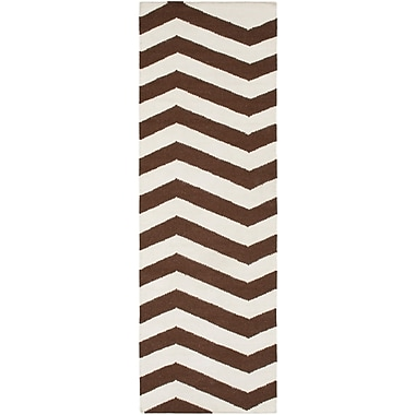 Ebern Designs Diego Chocolate & Ivory Area Rug; 2' x 3'