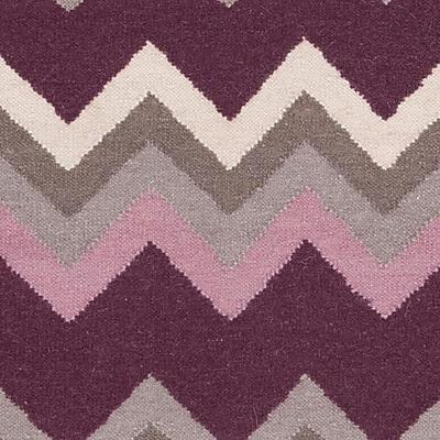 Ebern Designs Diego Prune Purple/Flint Gray Chevron Area Rug; 9' x 13'