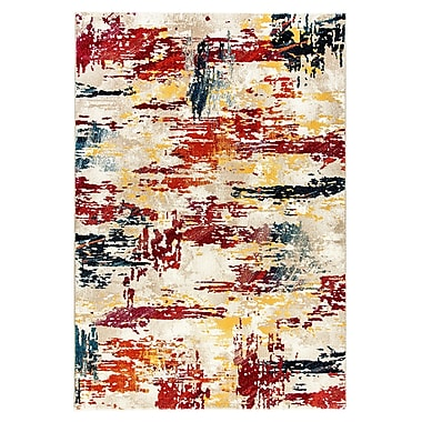 Ebern Designs Donnellson Yellow/Gray/Red Area Rug; 7'10'' x 10'10''