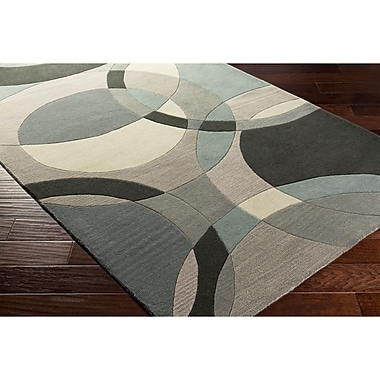 Ebern Designs Dewald Hand-Tufted Neutral/Blue Area Rug; 8' x 11'