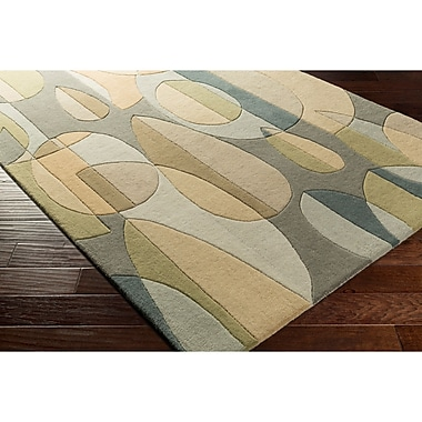 Ebern Designs Dewald Hand-Tufted Blue/Green Area Rug; Round 8'