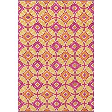 Ebern Designs Dorinda Pink/Yellow Geometric Indoor/Outdoor Area Rug; 7' 10'' x 10' 3''