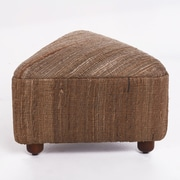 Ivy Bronx Lisse Ottoman w/ Wood Frame; Cappuccino