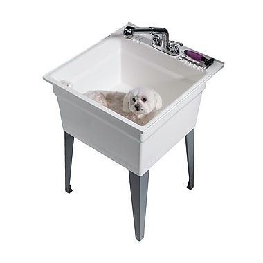 Cashel Heavy Duty 22.75'' x 25.25'' Freestanding Laundry Utility Sink w/ Faucet; White