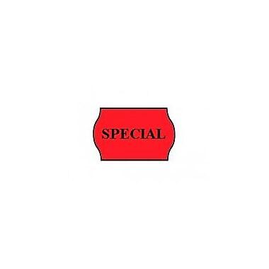 Meto – Étiquettes rouges fluorescentes « SPECIAL » 1522, 2 lignes, 1125/RL, 14 rouleaux/paq
