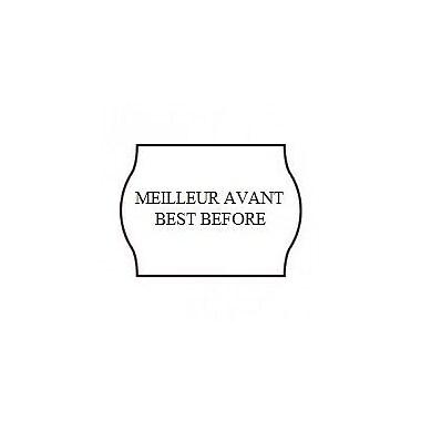 Meto – Étiquettes blanches Meilleur avant/Best Before 1522, 2 lignes, 1125/rouleau, 14 rouleaux/paq
