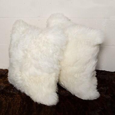 Rosdorf Park Gaston New Zealand Sheepskin Throw Pillow (Set of 2); Natural