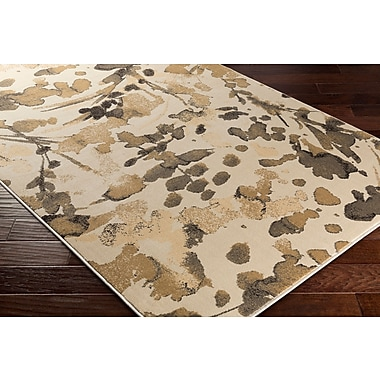 Ebern Designs Divernon Beige Floral and Plants Area Rug; 5'3'' x 7'6''