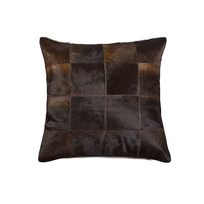 Bloomsbury Market Graham Square Patchwork Cowhide Throw Pillow; Chocolate