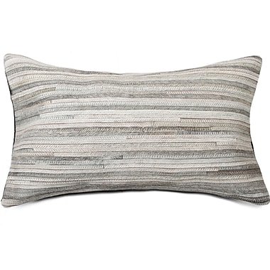 Bloomsbury Market Graham Hand-Woven Cowhide Lumbar Pillow; Gray
