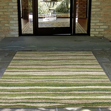 Ebern Designs Deray Waves Rug Green/Beige Indoor/Outdoor Area Rug; 4'10'' x 7'6''