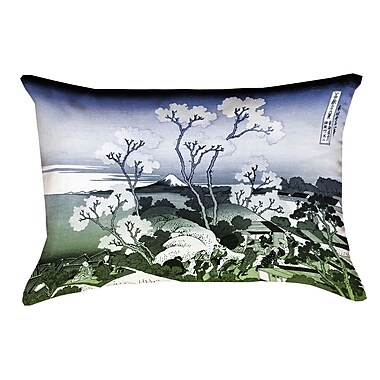 Bloomsbury Market Clair Japanese Cherry Trees Indoor Lumbar Pillow; Blue/Green