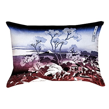 Bloomsbury Market Clair Japanese Cherry Trees Rectangular Lumbar Pillow; Blue/Red