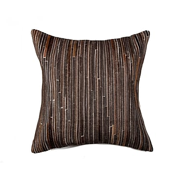 Bloomsbury Market Graham Hand-Woven Leather Throw Pillow; Chocolate