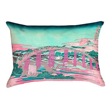 Bloomsbury Market Enya Japanese Bridge Rectangular Lumbar Pillow Cover; Pink/Teal