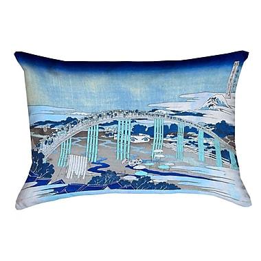 Bloomsbury Market Enya Japanese Bridge Linen Lumbar Pillow; Blue