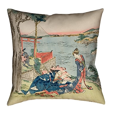 Bloomsbury Market Enya Japanese Courtesan 100pct Cotton Throw Pillow; 18'' x 18''