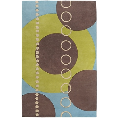 Ebern Designs Dewald Sky/Brown Circle Area Rug; 4' x 6'