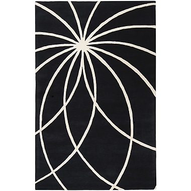 Ebern Designs Dewald Black/Ivory Area Rug; 7'6'' x 9'6''
