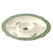 Spode Christmas Tree Embossed Chip and Dip Platter