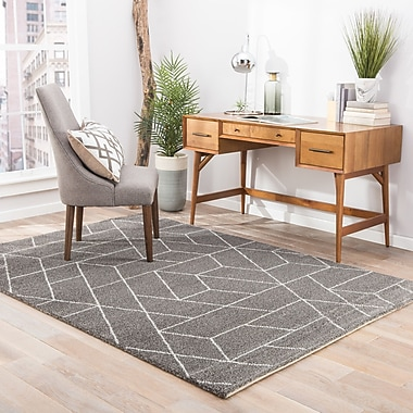 George Oliver Lyme Charcoal Gray/Paloma Area Rug; 2' x 3'11''