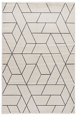 George Oliver Lyme Marshmallow/Charcoal Gray Area Rug; 5'3'' x 7'6''