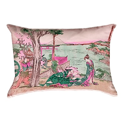 Bloomsbury Market Enya Japanese Courtesan Lumbar Pillow w/ Concealed Zipper and Insert; Green/Pink