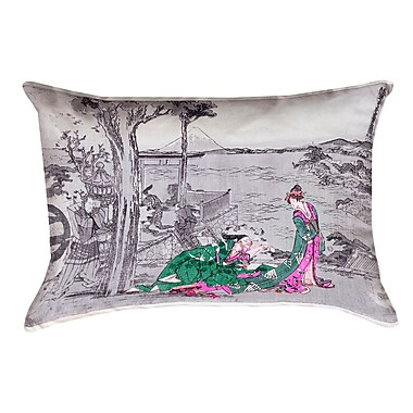Bloomsbury Market Enya Japanese Courtesan Blown and Closed Lumbar Pillow; Green