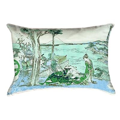 Bloomsbury Market Enya Japanese Courtesan Cotton Lumbar Pillow; Green/Blue