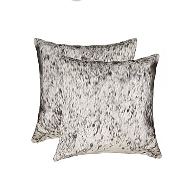 Bloomsbury Market Graham Spot Leather Throw Pillow (Set of 2); Gray/White
