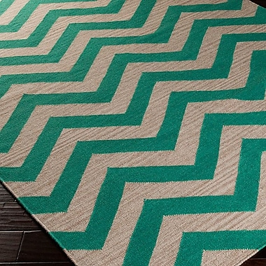 Ebern Designs Diego Emerald Green/Silver Zig Zag Area Rug; Runner 2'6'' x 8'