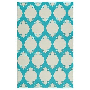 Ebern Designs Dominic Cream/Turquoise Indoor/Outdoor Area Rug; 3' x 5'