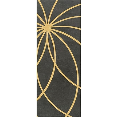Ebern Designs Dewald Gold/Iron Ore Area Rug; Square 6'