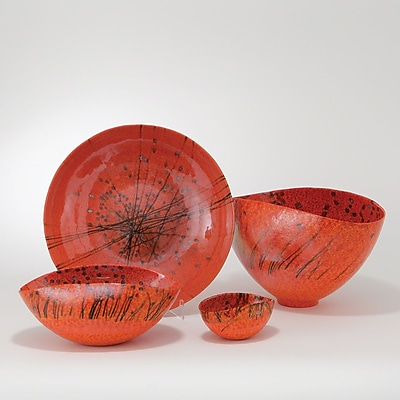 Bloomsbury Market Faunia 3'' Oval Red Murano Glass Bowl