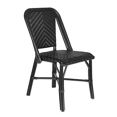 Gracie Oaks Aly Stacking Patio Metal Frame Dining Chair; Black