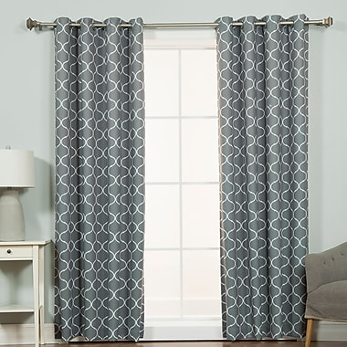 Darby Home Co Chatham Geometric Semi-Sheer Thermal Grommet Single Curtain Panel; Gray