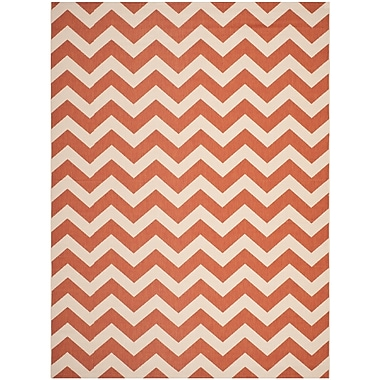 Ebern Designs Mullen Terracotta/Beige Indoor/Outdoor Area Rug; 6'7'' x 9'6''